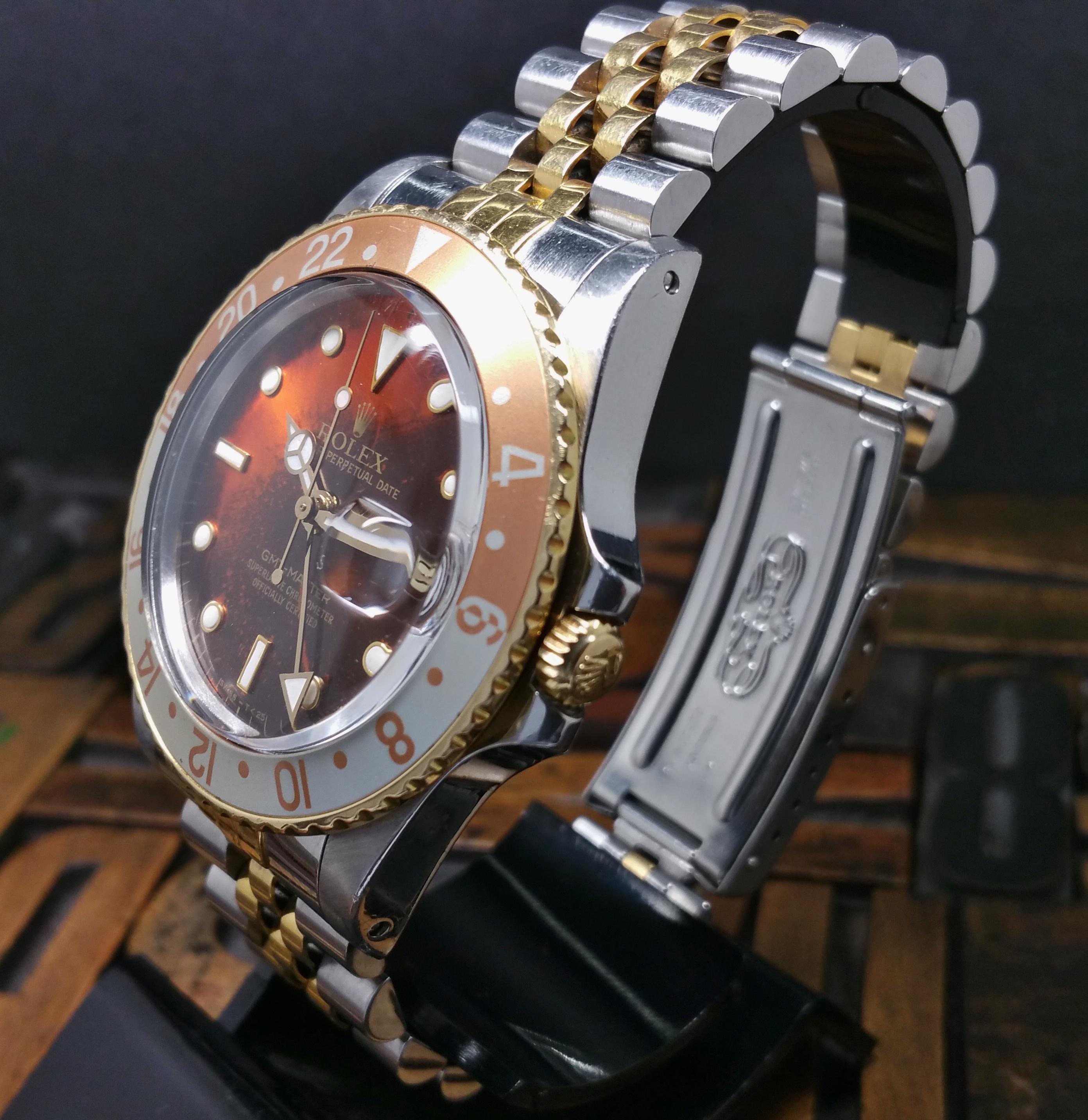 1987 Rolex GMT Master Steel & Gold 16753 Burn Root Beer Dial