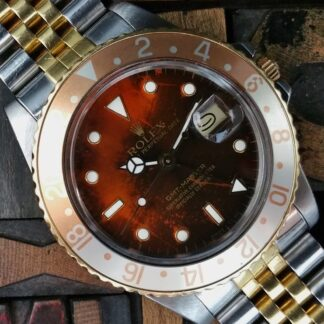 1987 Rolex GMT Master Steel & Gold 16753 Burn Root Beer Dial