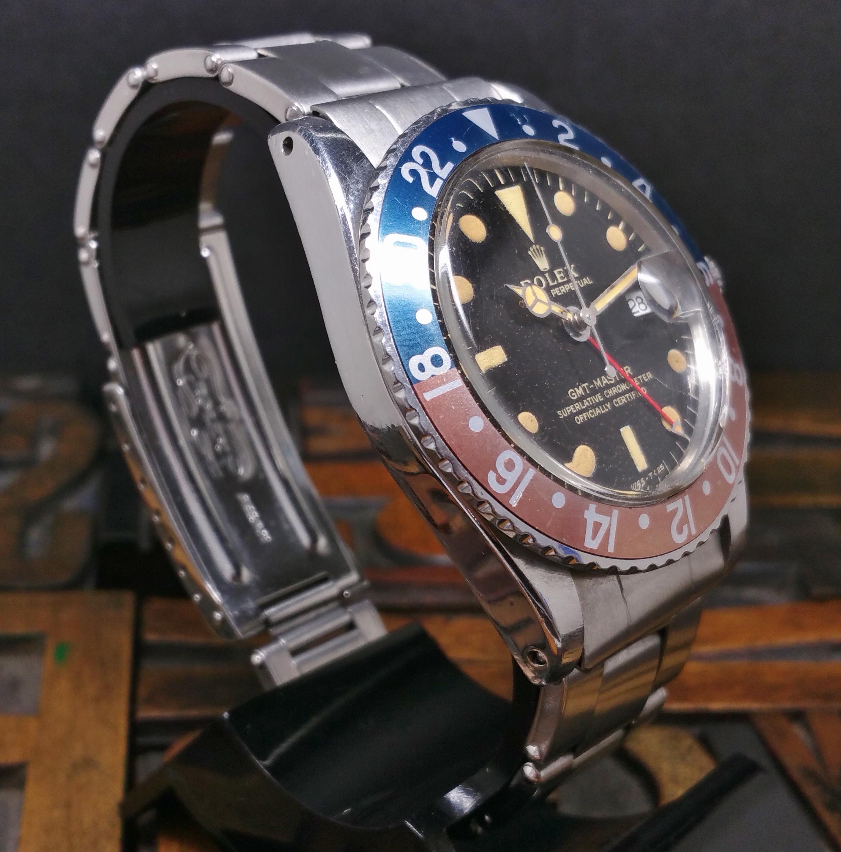 1965 Rolex GMT Master 1675 Tropical Glossy Gilt Dial