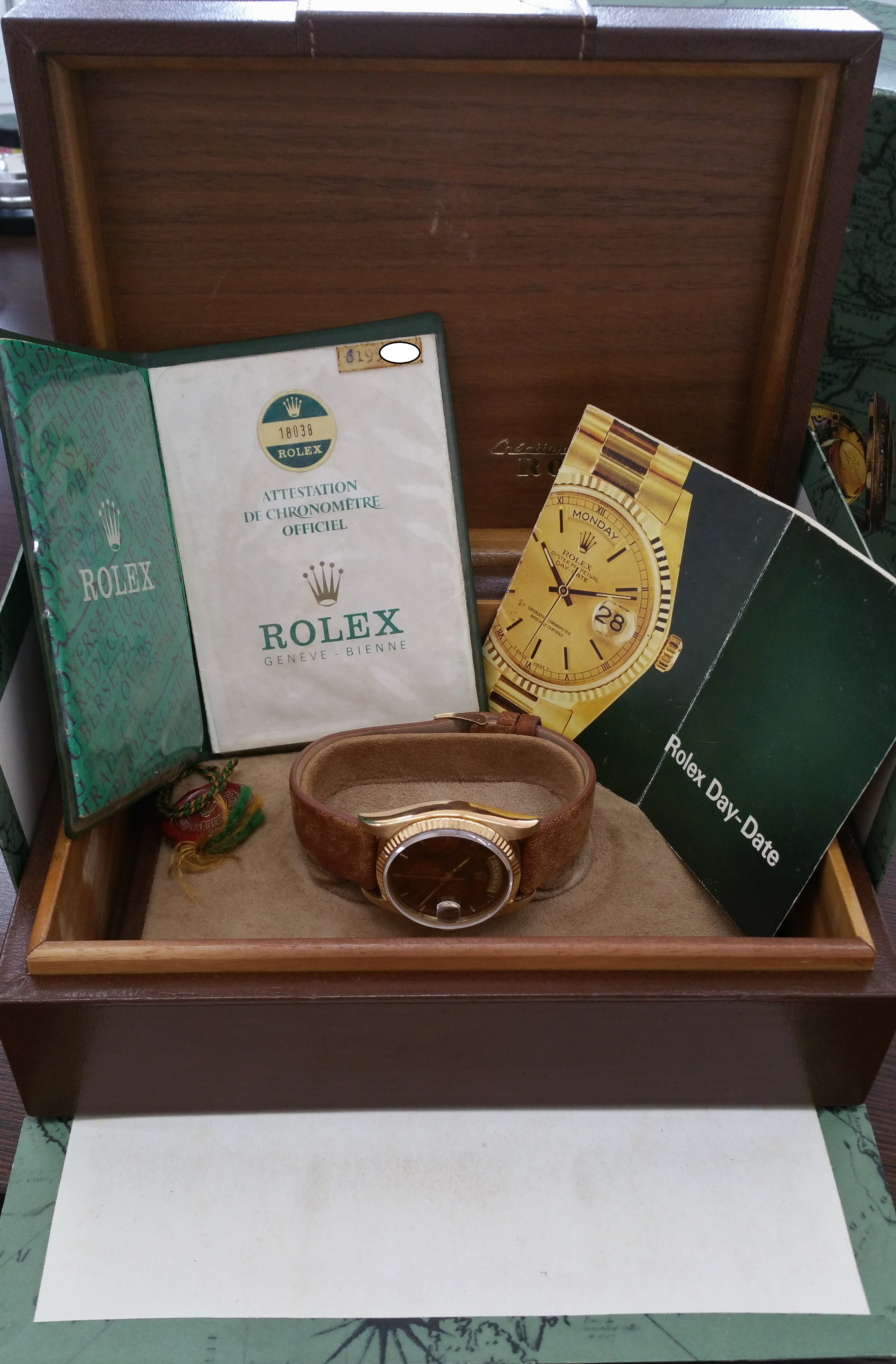 1979 Rolex Day Date Yellow Gold 18038 Wood Dial with Box & Papers