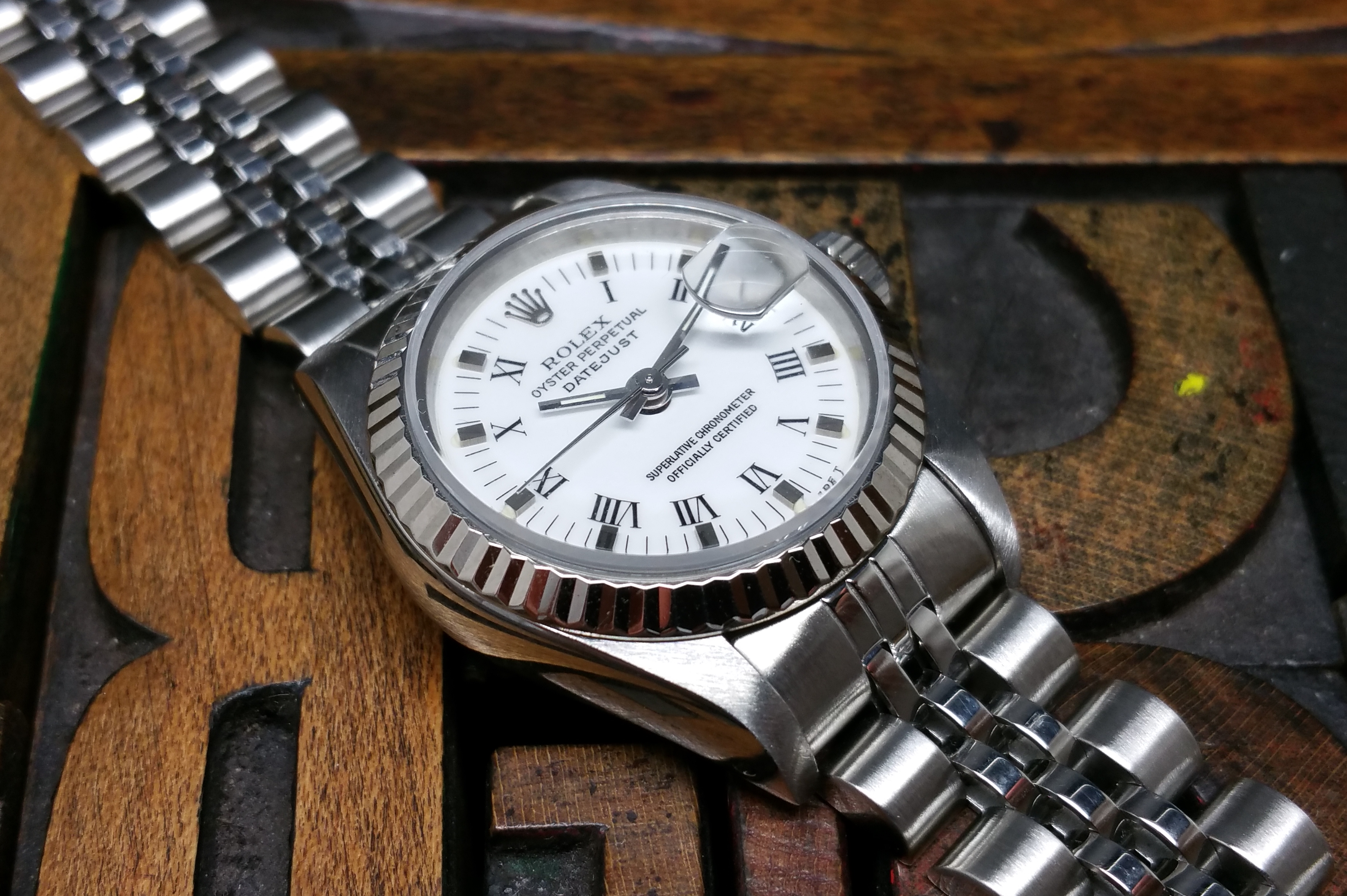 2003 Rolex Datejust Lady 69174 White Roman Dial