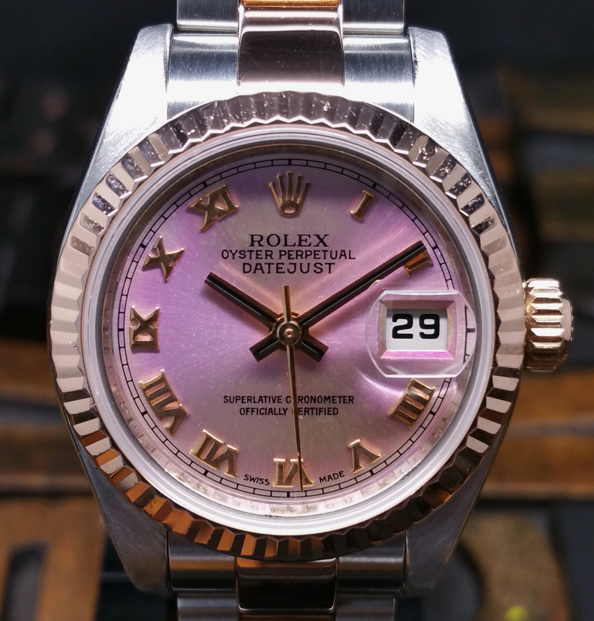2007 Rolex Datejust Lady Steel & Rose Gold 179171 Tropical Pink Dial with Papers