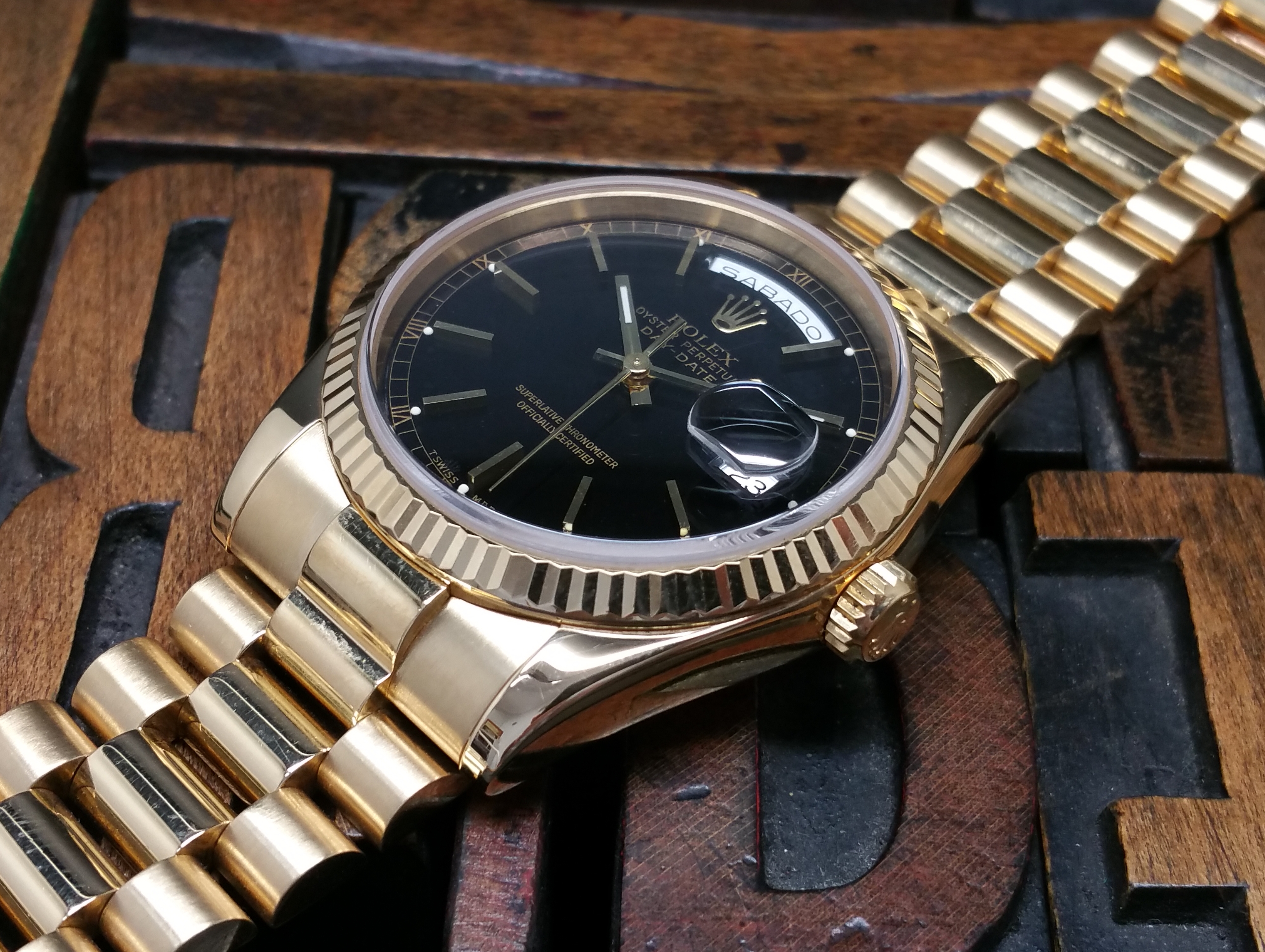 2004 Rolex Day-Date Yellow Gold 118238 Black Dial with Papers