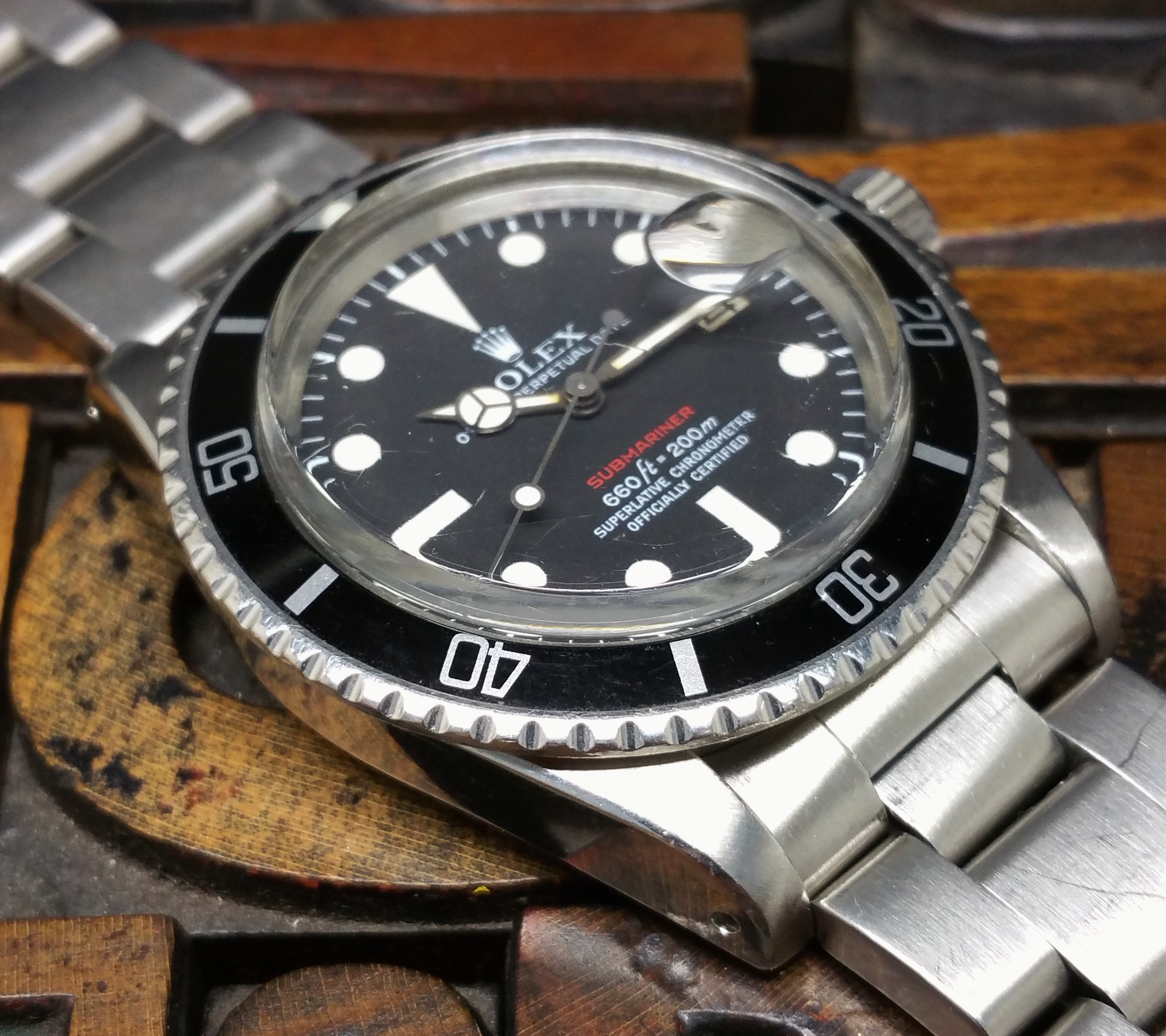 1972 Rolex Submariner Red 1680 Mark V Dial