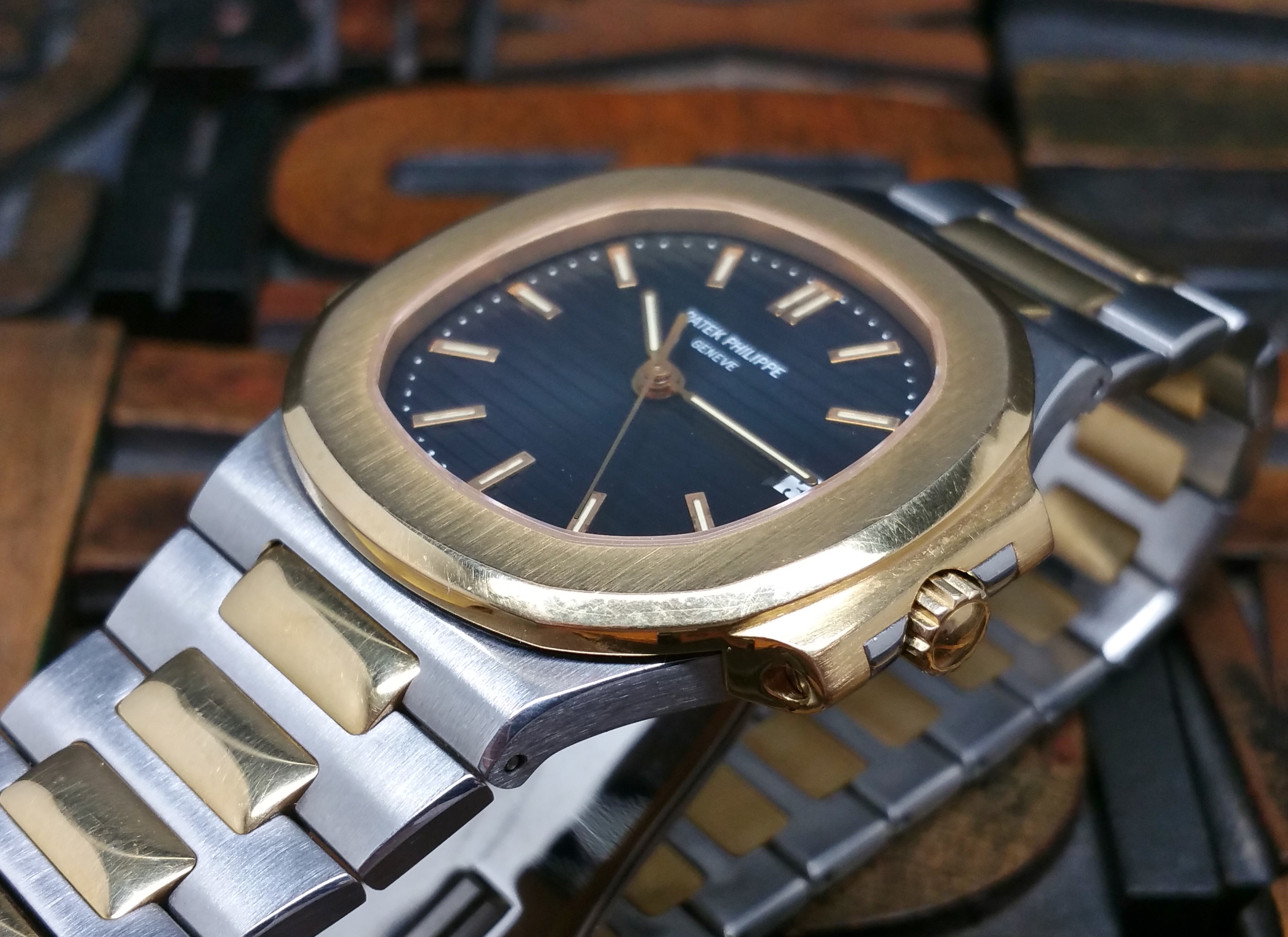 1994 Patek Philippe Nautilus Steel & Gold 3800/001 Blue Dial with Box & Papers
