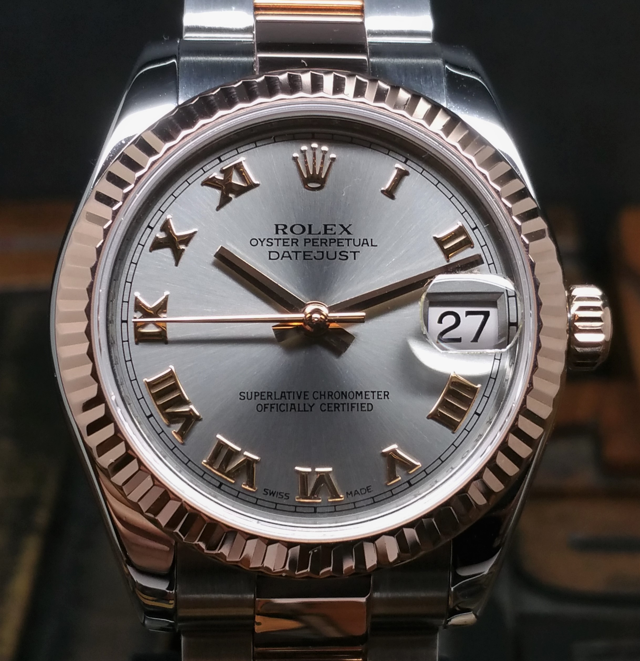 2010 Rolex Datejust Steel & Rose Gold 178271 Mide Size with Box & Papers