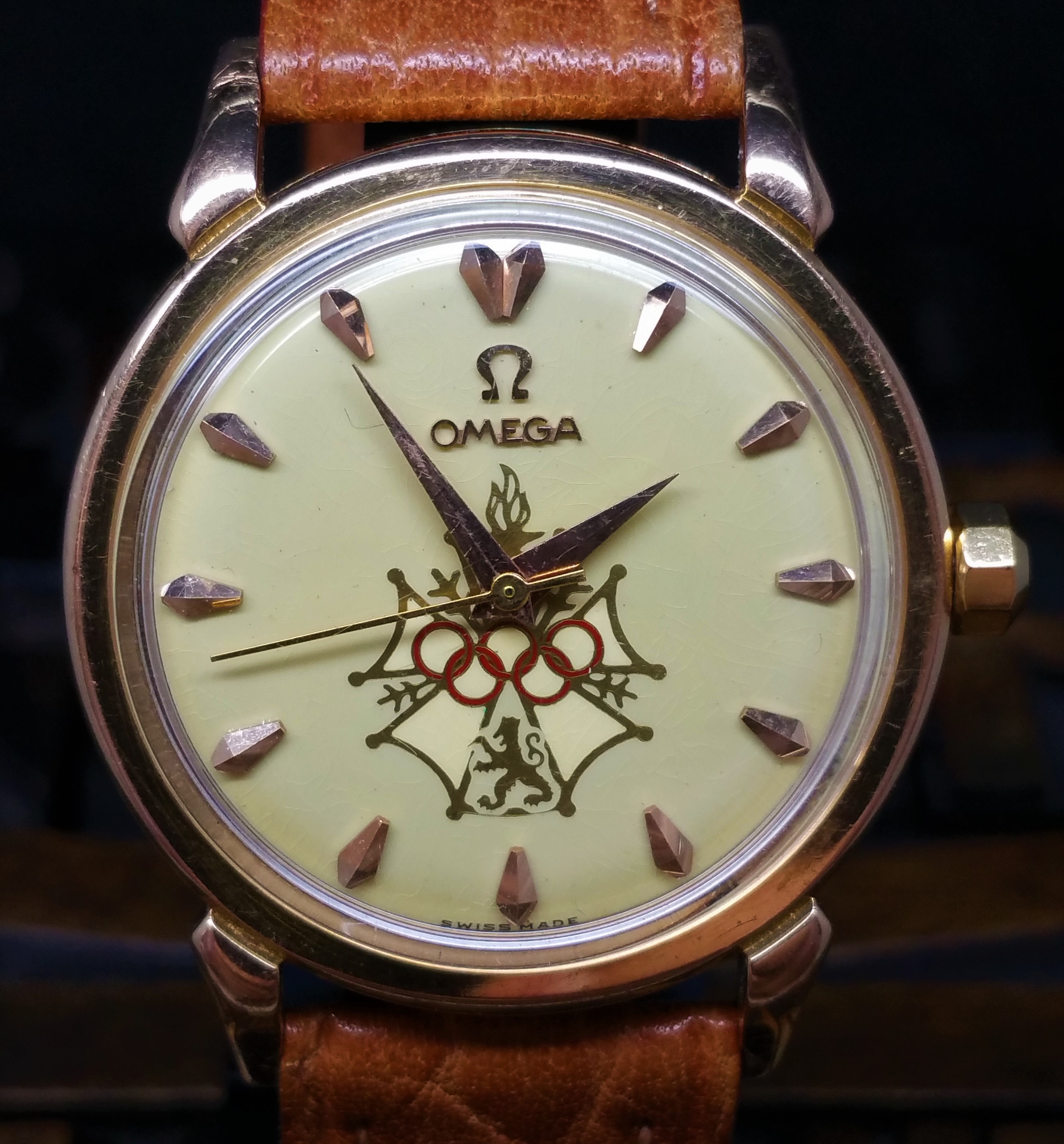 1957 Omega Seamaster 2850 SC Rose Gold XVI Olympic Games Melbourne 1956 Enamel Dial with Box and Papers